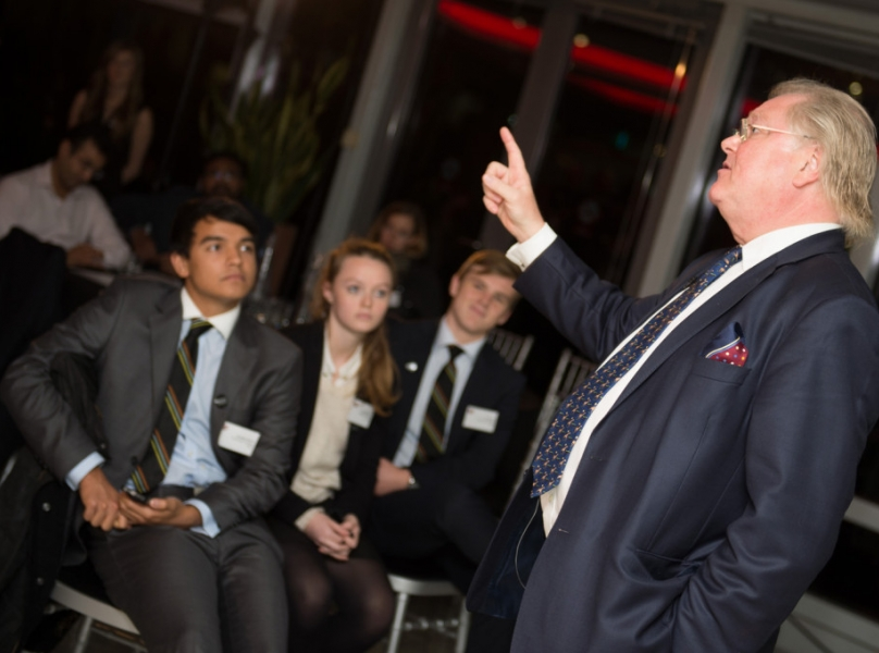 Lord Digby Jones with school pupils at Micro-Tyco event
