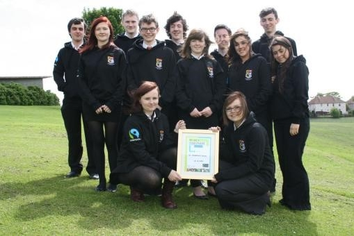 Pupils from St. Andrew's RC High School wearing Fair Trade cotton hoodies