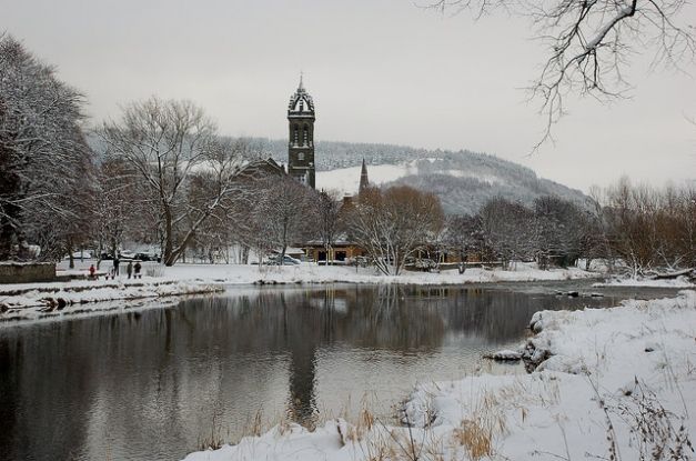 The Tweed and the parish church in winter, Peebles