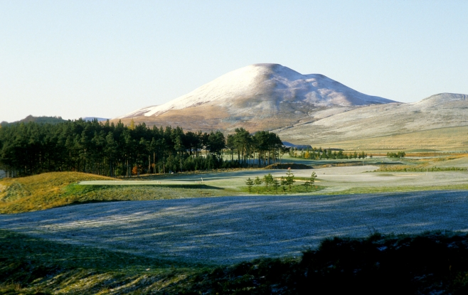 Winter over West Linton Golf Club and the Pentland Hills