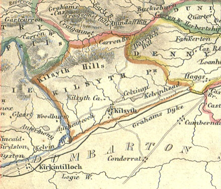 Map (circa 1740) showing the boundaries of Kilsyth Parish and the location of Kilsyth Burgh.