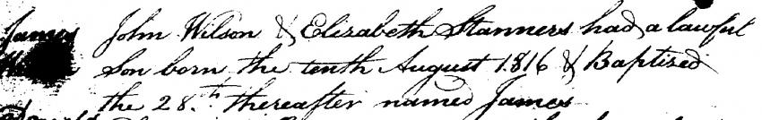 James Wilson's birth record in Carriden Parish's Register of Births.