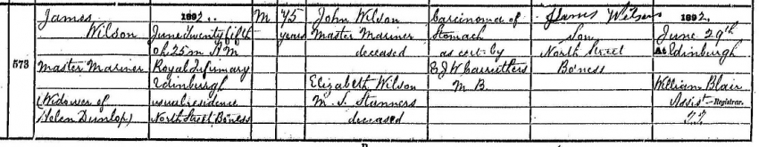 Death record of James Wilson