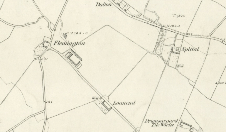 1859 Map showing Loanend at Flemington in Cambuslang Parish, Lanarkshire