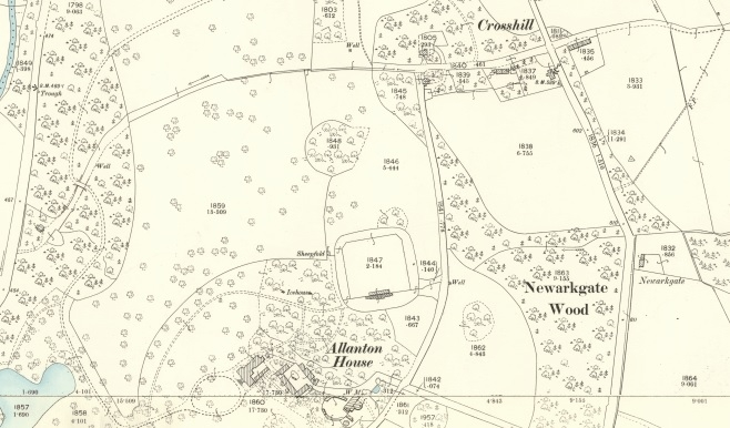 1896 Map showing the hamlet of Crosshill on the edge of the Allanton Estate.