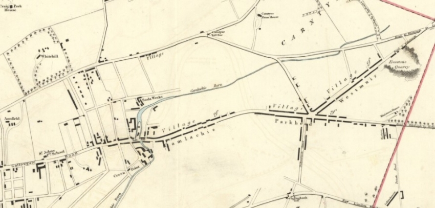 1832 Map showing locations of Camlachie and Westmuir villages