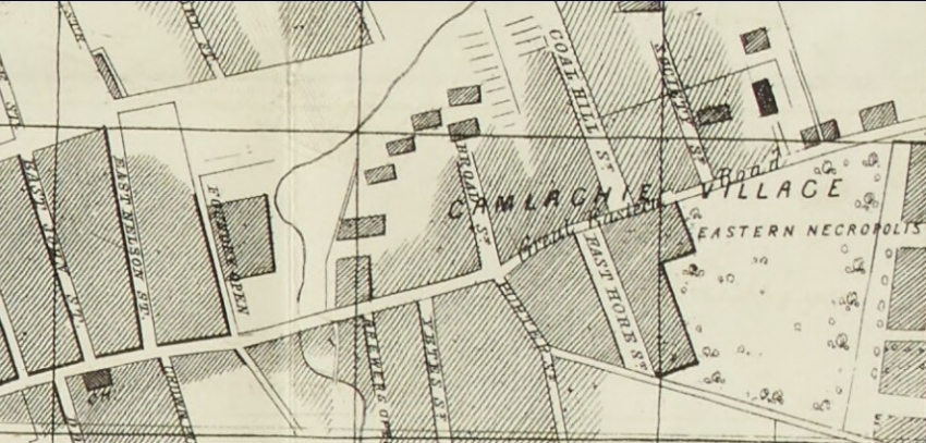 1860 map showing the location of Coalhill Street and Broad Street in Camlachie