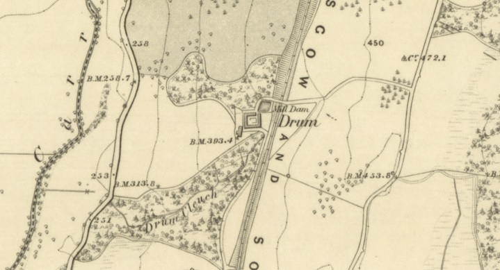 1856 Map showing location of Drum Farm buildings.  The road to the west is now the A702.