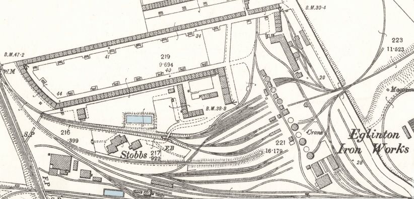 1895 Map of Eglinton Iron Works.  Cross Row is the short stretch of dwellings at the left side. Single Row runs along the top of the map.