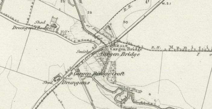 1850 Map showing Cargen Bridge