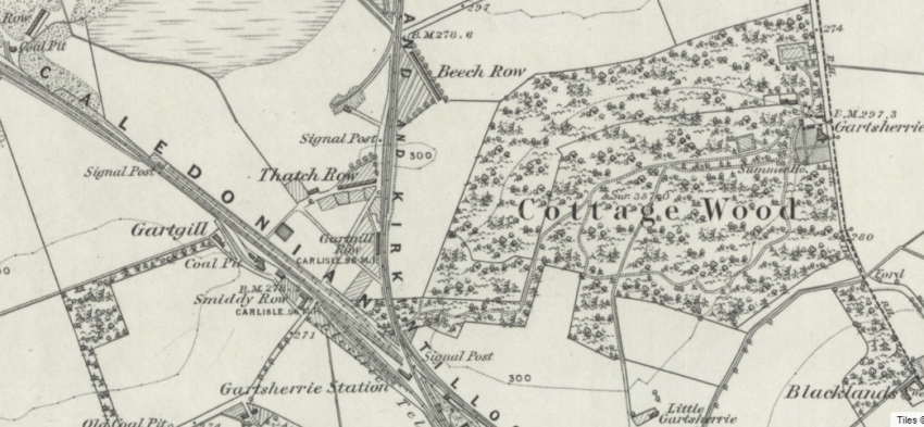 1858 Map showing location of Beech Row in the Parish of Gartsherrie