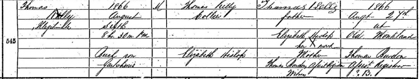 Thomas Kelly's Birth Record from New Monkland Parish