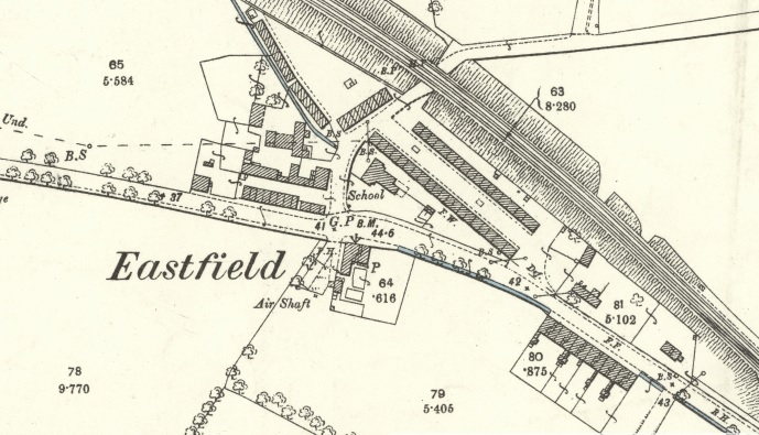 1892 Map of Eastfield showing the miners' rows.