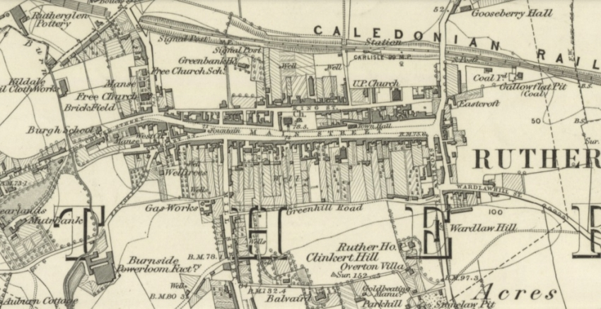 1858 Map of Rutherglen showing Main Street running east/west and Mill Street running south from its west end.