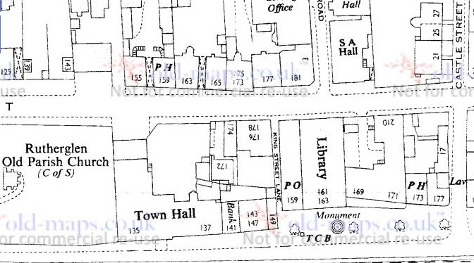 1955 Map showing the location of 177 King Street in Rutherglen
