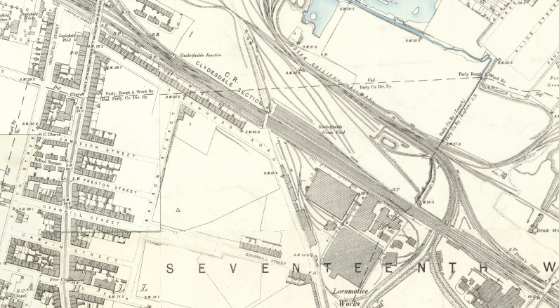 1892 Map showing Govanhill Street and the Glasgow Locomotive Works at 321 Aikenhead Road.