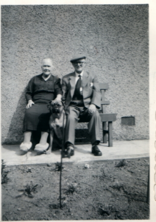 Jeanie McKay, her son David and 'Lass' at 343 Main Street, Rutherglen c. 1960