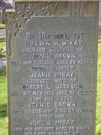 William Hamiltom McKay and Jeanie Stewart Brown's Headstone in Rutherglen Cemetery