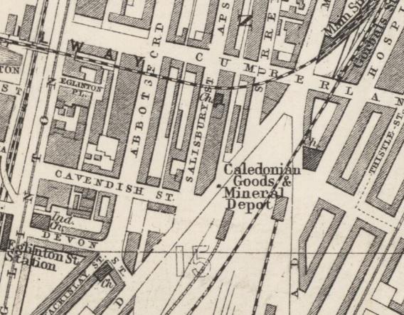 1882 Map showing Location of Salisbury Street in Gorbals