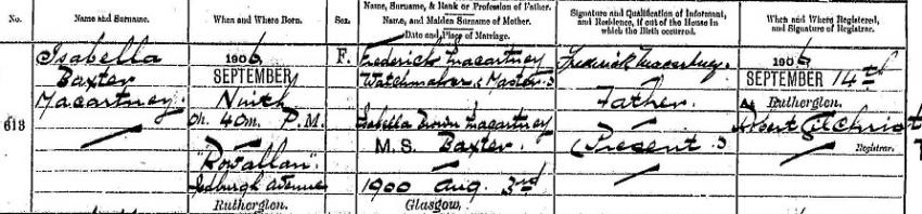 Isabella Baxter Macartney's 1906 Birth Record