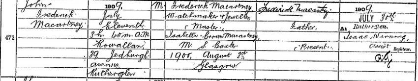 John Frederick Macartney's 1909 Birth Record