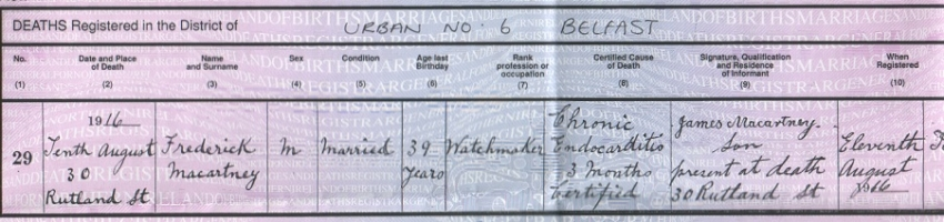 1916 Death Record of Frederick Macartney