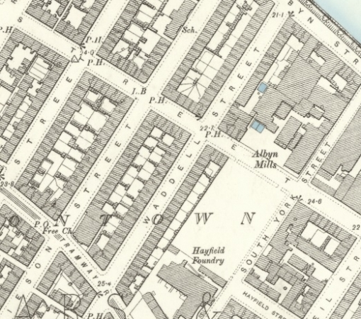 1882 Map showing the location of Waddell Street in Hutchesontown