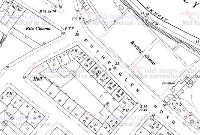 1951 Map showing location of 610 and 612 Rutherglen Road