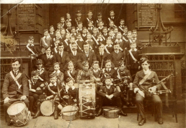 A Boys Brigade Company on the steps of the Gorbals United Free Church.