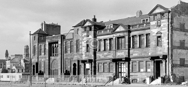 The former Gorbals UF Church and the Synagogue just before demolition (c.1973)