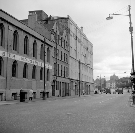 The tenement (centre) at 16 Commerce  Street and former Free Church (left) (1967)