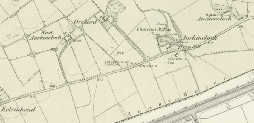 1859 Map showing Auchencloch farm steadings