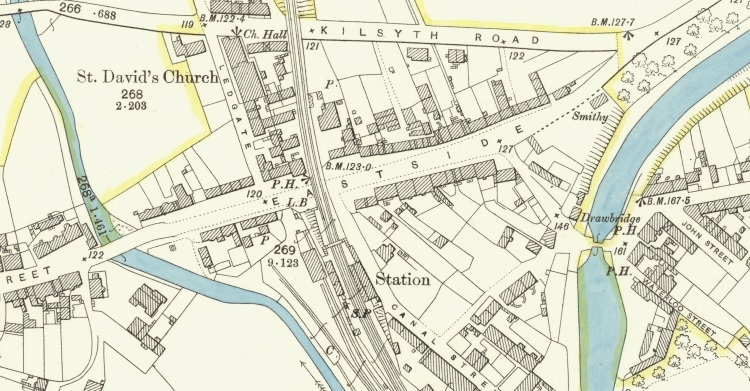 1898 Map showing location of Eastside, Kirkintilloch