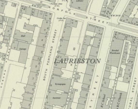 1951 Map showing the location of 108 South Portland Street in Lauriston