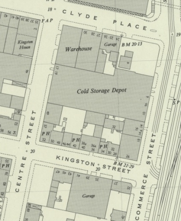 1951 Map showing location of 16 Commerce Street in Tradeston