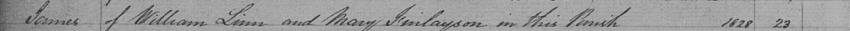 1828 Birth Record of James Linn