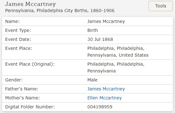 James McCartney's entry in Birth Index.