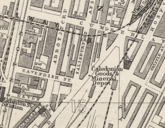 1882 Map showing Location of Salisbury Street in Gorbals