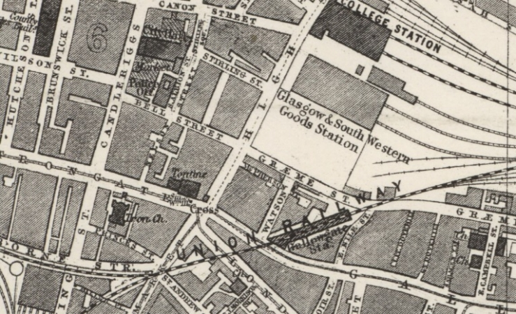 Location of Graeme Street close to the Fruit Market on Candleriggs.