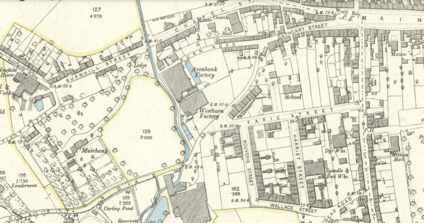 1893 Map showing Rutherglen's west end.