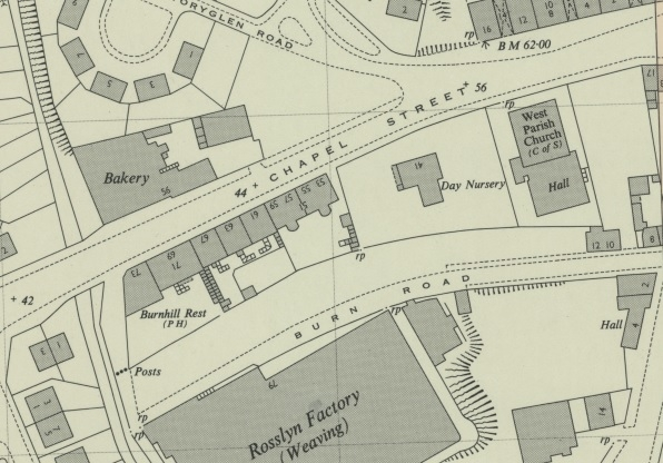 1953 Map showing the location of 63 Chapel Street, Margaret Brown's residence in 1901