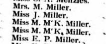Ship Manifest listing Miller family