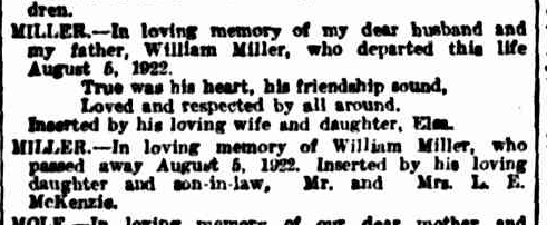 1922 Family memorial messages