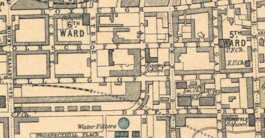 1912 Map showing location of Greenock Ragged School