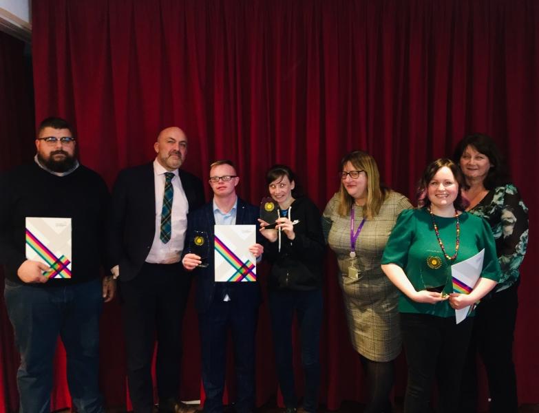 Winning students pictured alongside our judges. (R-L) Neil Silvester, Geoff Leask, Skills For Life, Ann Baxter, Karen Morris and Margaret Webster