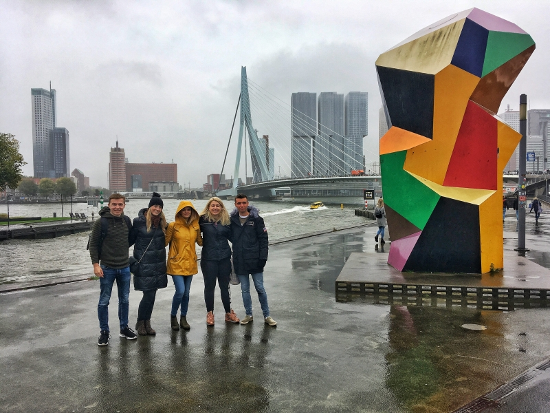 Here are a few of us in a rainy Rotterdam at the Erasmus Bridge!