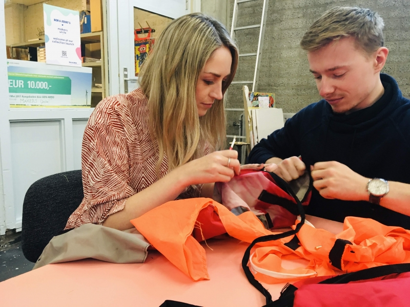 Here we had the opportunity to take a part some of the used lifejackets, which will be made into products!