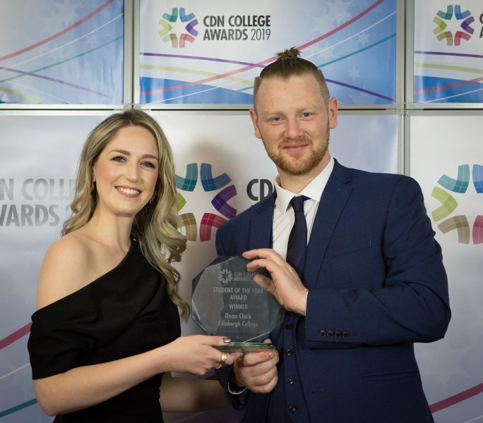 Senior Programme Executive Lisa Wardlaw awarding Dean Clark Of Edinburgh College [DQ]Student Of The Year[DQ].