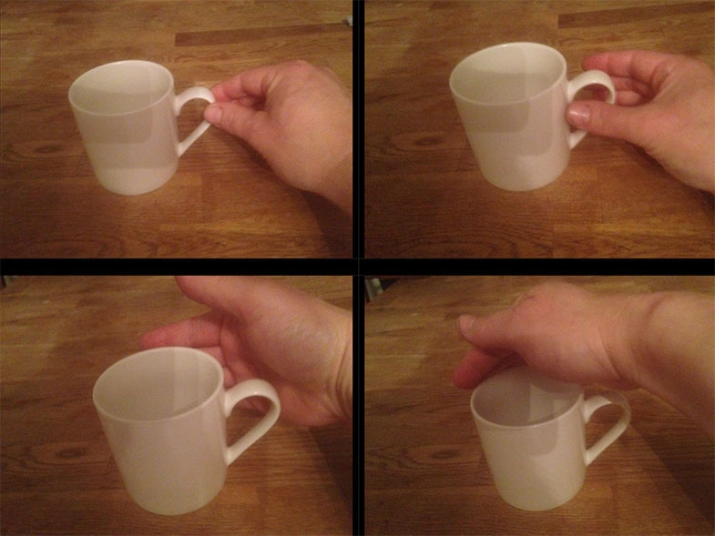 How a person picks up a cup can give a good indication of whether they may be affected by optic ataxia.