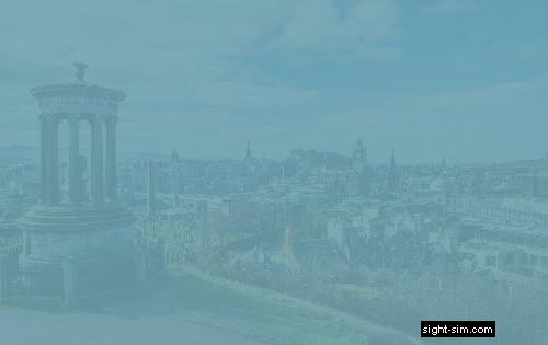 Vista de la ciudad de Edimburgo con una sensibilidad más severamente reducida de contraste al color.